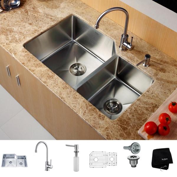 Kitchen Sink Unit Sizes: Shop KRAUS 32 Inch Undermount Double Bowl Stainless Steel