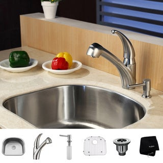 KRAUS 23 Inch Undermount Single Bowl Stainless Steel Kitchen Sink with Pull Out Kitchen Faucet and Soap Dispenser