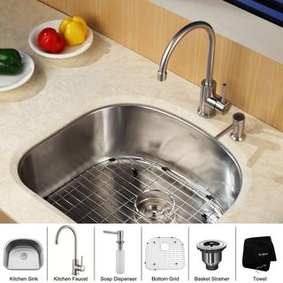 KRAUS 23 Inch Undermount Single Bowl Stainless Steel Kitchen Sink with Kitchen Bar Faucet and Soap Dispenser in Stainless Steel