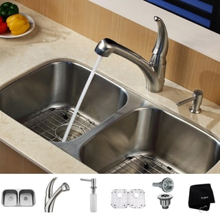 KRAUS 32 Inch Undermount Double Bowl Stainless Steel Kitchen Sink with Pull Out Kitchen Faucet and Soap Dispenser
