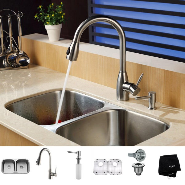 Shop Kraus Kitchen Combo Set Stainless Steel Undermount Sink With