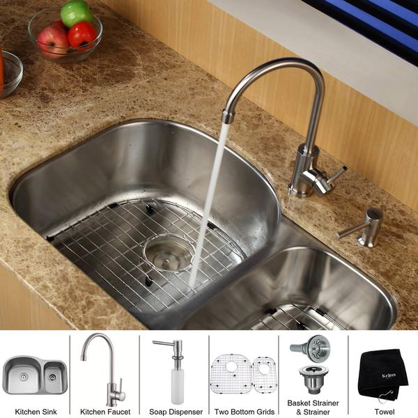 32 Inch Undermount Kitchen Sink: Shop KRAUS 32 Inch Undermount Double Bowl Stainless Steel