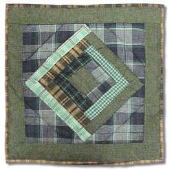 Green Log Cabin Throw Pillows (Set of 2)