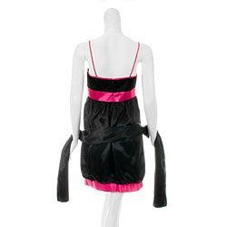 Aspeed Women's Black/ Fuschia Bubble Hem Dress - Thumbnail 1