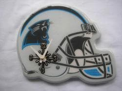 Carolina Panthers White and Blue Collectible Helmet-shaped Clock - Thumbnail 1