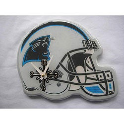 Carolina Panthers White And Blue Collectible Helmet Shaped Clock