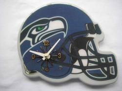 Blue Collectible Seattle Seahawks Football Helmet Analog Clock - Thumbnail 1