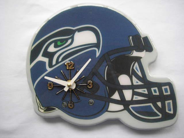 Blue Collectible Seattle Seahawks Football Helmet Analog Clock