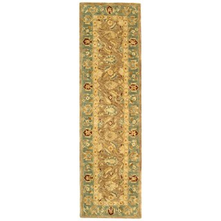 Safavieh Handmade Anatolia Oriental Legacy Brown/ Blue Hand-spun Wool Runner (2'3 x 12')