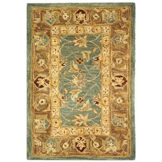 Safavieh Handmade Anatolia Oriental Legacy Teal Blue/ Taupe Hand-spun Wool Rug (2' x 3')