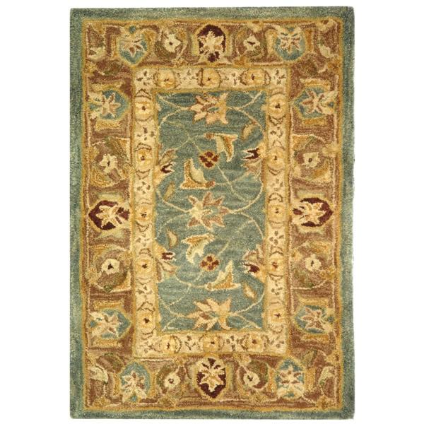 Safavieh Handmade Anatolia Legacy Teal Blue/ Taupe Wool Rug (2' x 3')
