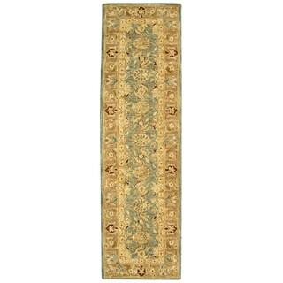 Safavieh Handmade Anatolia Legacy Teal Blue/ Taupe Wool Rug (2'3 x 10')