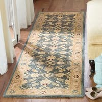 "Safavieh Handmade Anatolia Oriental Legacy Teal Blue/ Taupe Hand-spun Wool Rug - 2'3"" x 12'"