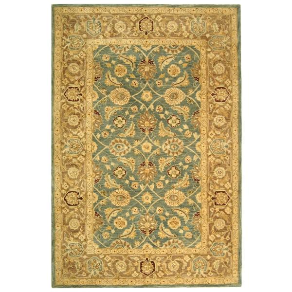 Safavieh Handmade Anatolia Oriental Legacy Teal Blue/ Taupe Hand-spun Wool Rug (6' x 9')