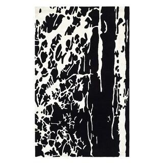 Safavieh Handmade Soho Modern Abstract Black/ White Wool Rug (9' 6 x 13' 6)