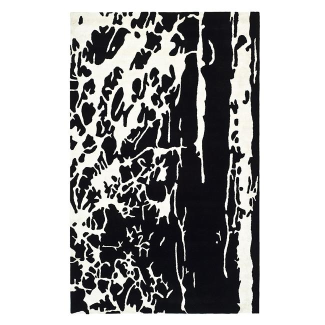 Safavieh Handmade Soho Modern Abstract Black/ White Wool Rug (7' 6 x 9' 6)