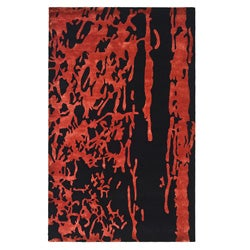 Safavieh Handmade Soho Modern Abstract Black/ Red Wool Rug - 9'6 x 13'6 - Thumbnail 0