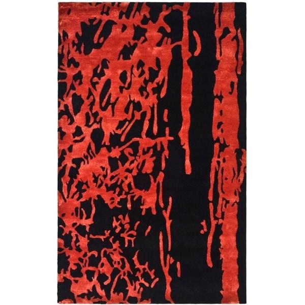 "Safavieh Handmade Soho Modern Abstract Black/ Red Wool Rug - 9'-6"" x 13'-6"""