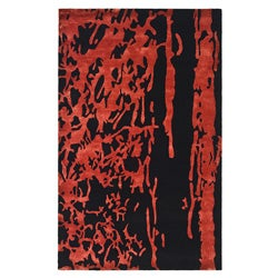 Safavieh Handmade Soho Deco Black/ Red New Zealand Wool Rug (5' x 8')