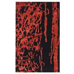 Safavieh Handmade Soho Deco Black/ Red New Zealand Wool Rug (6' x 9')