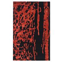 Safavieh Handmade Soho Deco Black/ Red New Zealand Wool Rug - 6' x 9'