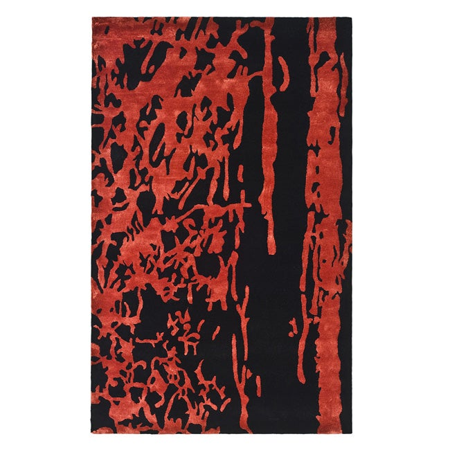 Safavieh Handmade Soho Modern Abstract Black/ Red Wool Rug (7' 6 x 9' 6) - Thumbnail 0