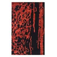 Safavieh Handmade Soho Modern Abstract Black/ Red Wool Rug - 7'6 x 9'6