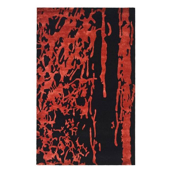 Safavieh Handmade Soho Modern Abstract Black/ Red Wool Rug - 8'3 x 11'