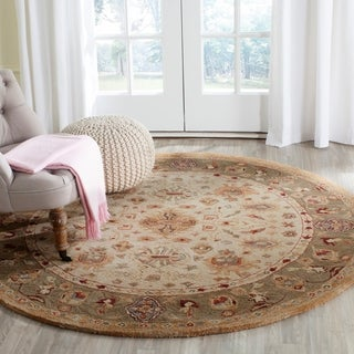Safavieh Handmade Anatolia Oriental Heirloom Ivory/ Light Green Hand-spun Wool Rug (4' Round)