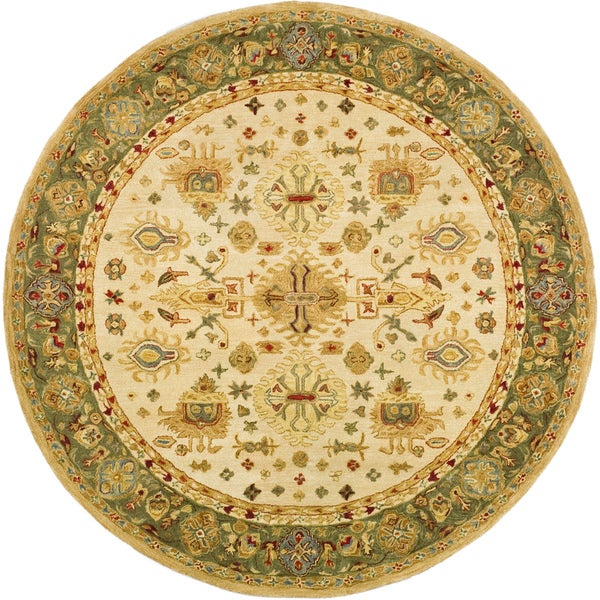 Safavieh Handmade Heirloom Ivory/ Light Green Wool Rug (4' Round)