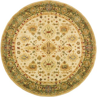 Safavieh Handmade Anatolia Oriental Heirloom Ivory/ Light Green Hand-spun Wool Rug (8' Round)