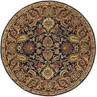 "Safavieh Handmade Classic Regal Black/ Burgundy Wool Rug - 3'6"" x 3'6"" round"