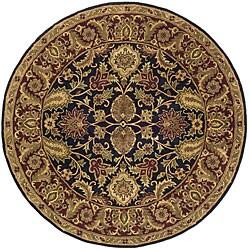 Safavieh Handmade Classic Regal Black/ Burgundy Wool Rug (8' Round)