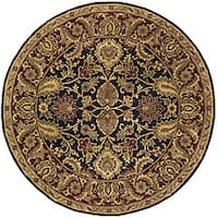 Safavieh Handmade Classic Regal Black/ Burgundy Wool Rug (8' Round)