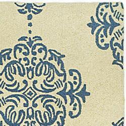 Safavieh Hand-hooked Miff Ivory/ Blue Wool Runner (2'6 x 10') - Thumbnail 1