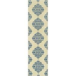 Safavieh Hand-hooked Miff Ivory/ Blue Wool Runner (2'6 x 10')