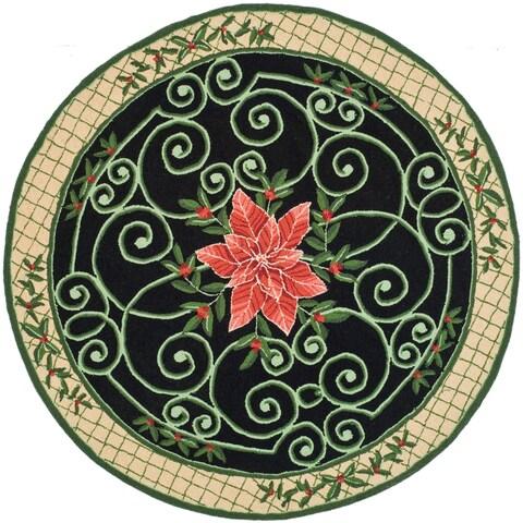 Safavieh Hand-hooked Irongate Wreath Green/ Beige Wool Rug - 4' x 4' Round