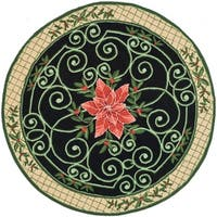 Safavieh Hand-hooked Irongate Wreath Green/ Beige Wool Rug - 4' Round