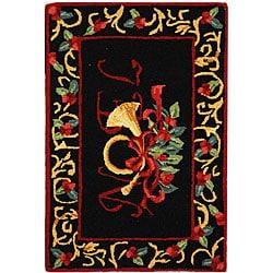 Safavieh Hand-hooked Noel Black Wool Rug (1'8 x 2'6)