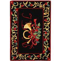 Safavieh Hand-hooked Noel Black Wool Rug - 1'8 x 2'6