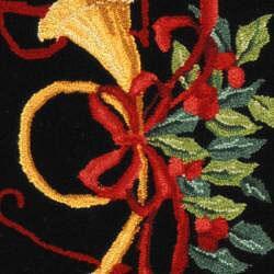 Safavieh Hand-hooked Noel Black Wool Rug (2'9 x 4'9) - Thumbnail 2
