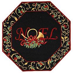 Safavieh Hand-hooked Noel Black Wool Rug - 4' x 4'octagon