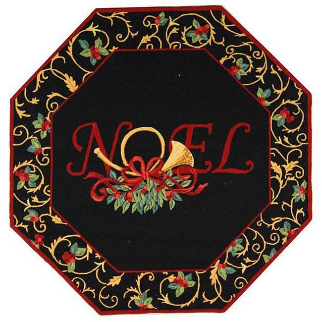 Safavieh hand hooked noel black wool rug octagonal