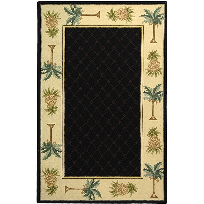 "Safavieh Hand-hooked Palm Black/ Ivory Wool Runner Rug - 2'6"" x 12'"