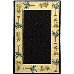 Safavieh Hand-hooked Palm Black/ Ivory Wool Runner (2'6 x 12') - Thumbnail 0