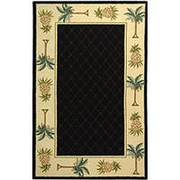 Safavieh Hand-hooked Palm Black/ Ivory Wool Runner (2'6 x 12')