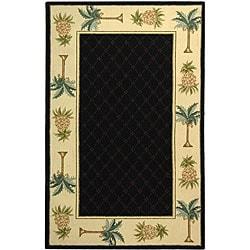 Safavieh Hand-hooked Palm Black/ Ivory Wool Runner (2'6 x 6')
