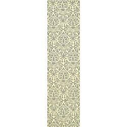 Safavieh Hand-hooked Damask Beige-Yellow/ Grey Wool Runner (2'6 x 10')