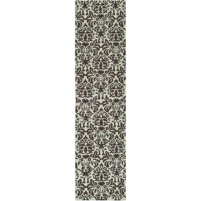Safavieh Hand-hooked Damask Sage/ Chocolate Wool Runner (...