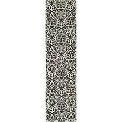Safavieh Hand-hooked Damask Sage/ Chocolate Wool Runner (2'6 x 8')